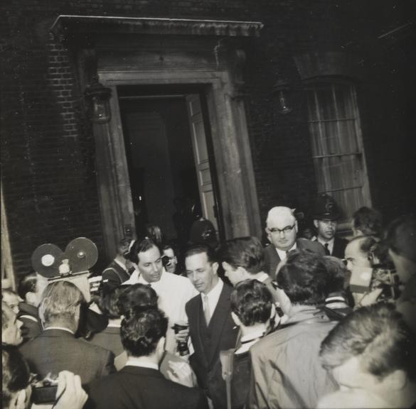 'Profumo Affair: Sir Keith Joseph being interviewed outside Admirality House'       A photograph entitled 'Profumo Affair: Sir Keith Joseph being interviewed outside Admiralty House'