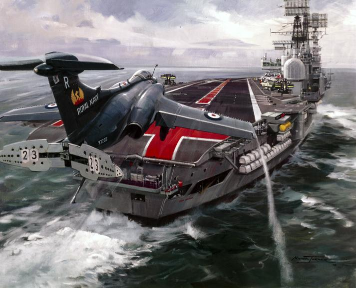 Painting of Buccaneer aircraft RN Jet XT283 (809 Squadron) landing on the aircraft carrier HMS Ark Royal / by Michael