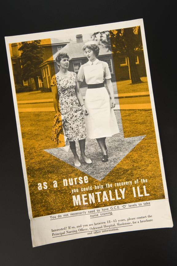 A mental nursing recruitment poster by C.O.I. 1950-1966.       Full view.