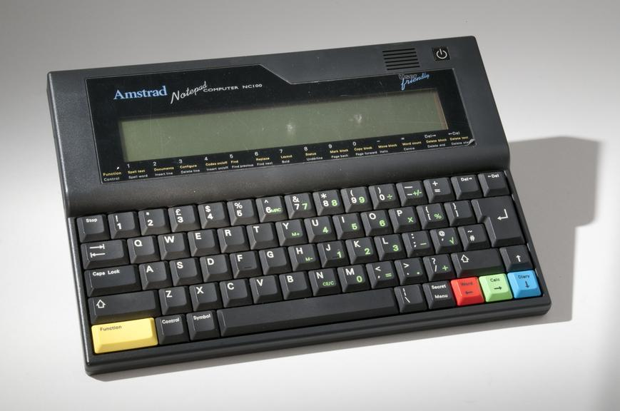 Amstrad NC100 Notepad Computer       An early example of portable computing and a good value alternative to the laptop (an entry level laptop cost £2