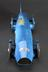 """Model of Sir Malcolm Campbell's """"Bluebird"""" racing car, 1931.  Front view of whole object against dark grey background."""