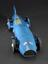 """Model of Sir Malcolm Campbell's """"Bluebird"""" racing car, 1931.  Front 3/4 view of whole object against dark grey"""