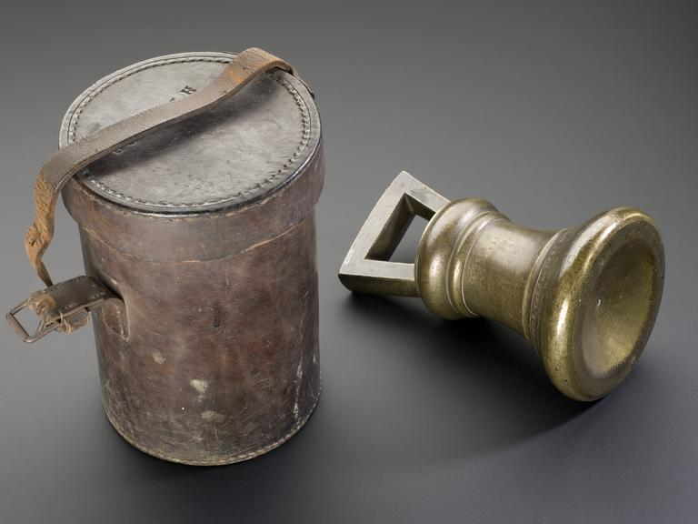 Standard weight brass bell shaped 28 lb, used by Borough of Huntingdon found 1826, in cylindrical leather case.  View