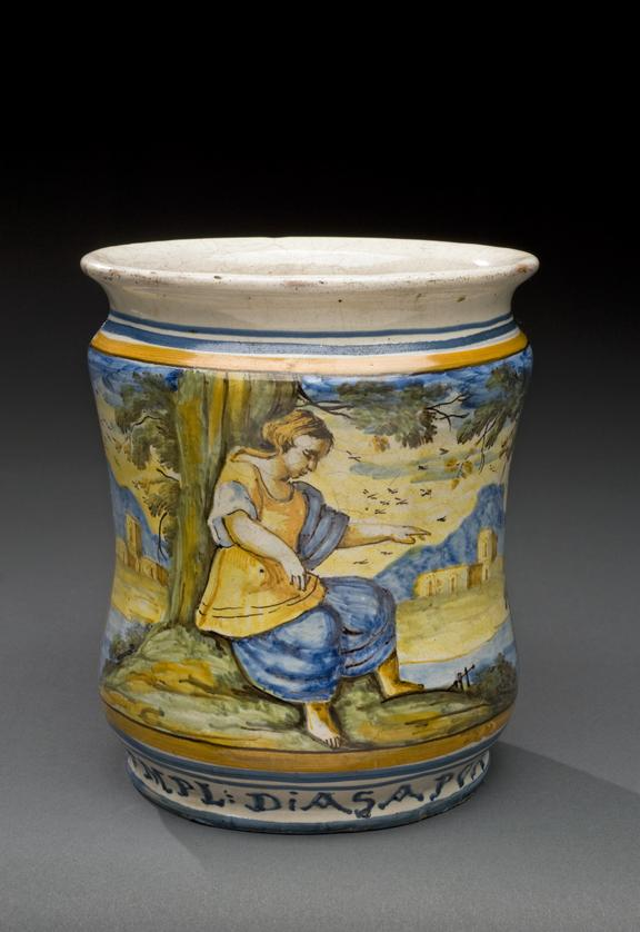 Italian pharmacy vase, polychrome maiolica, late C17 or early C18 from Castelli, used for diasapon filling. Graduated