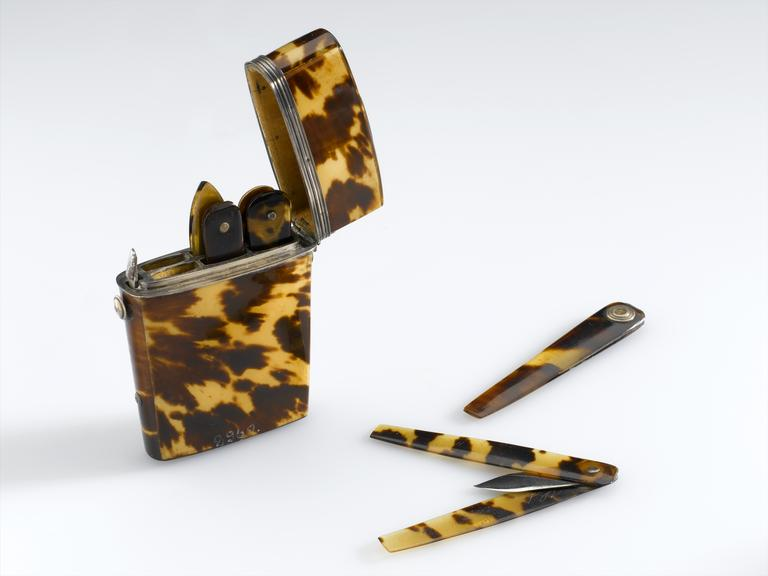 Seven lancets in a tortoiseshell case, various makers, English, 1700-1900.  Whole object shot on white background.