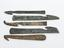 Group shot of 5 Knives, bronze, with hooked blade, used for cutting attachments of internal organs in evisceration