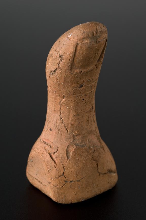 Votive left thumb, terracotta, Roman, 100BC-300AD. Full view, graduated matt black perspex background.