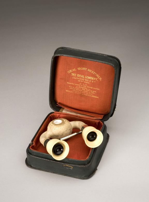 Eye masseur or Ideal Sight Restorer, by The Ideal Company, New York, U.S.A., early 20th century, Full view, in case,