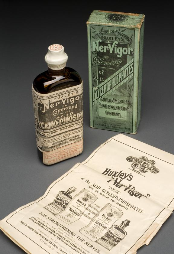 """A640381, Bottle of """"Ner-Vigor"""", with instructions, in original carton, by the Anglo-American Pharmaceutical Co. Ltd.,"""