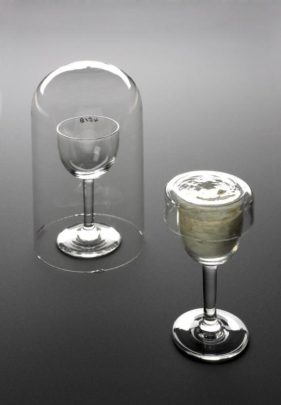 Left - A641005 Wine glass used by Lister as a culture glass, with glass display dome or dust cover. Right - A641000