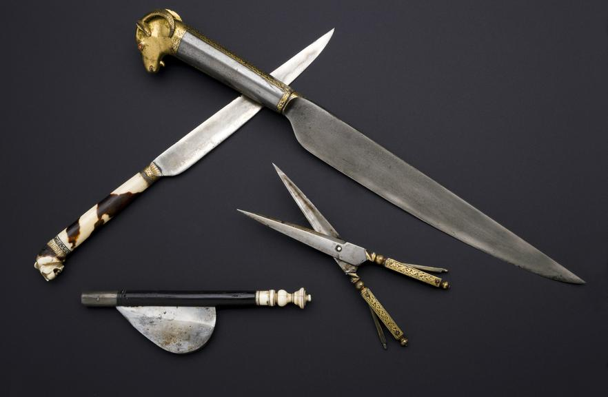 A642946/1, Lancet  with metal handlefrom set of cased surgical instruments, Persian, 18th century.. A642946/3, Scissors