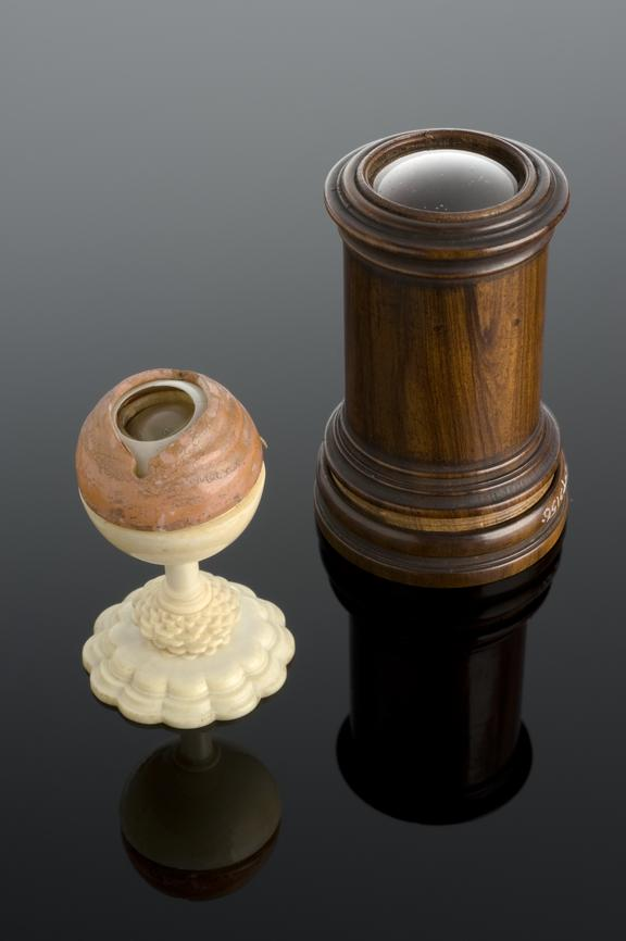 Ivory horn and glass model of an eye which comes apart to show various components, in wooden case, possibly 17th