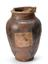 Painted and glazed earthenware jar, India, 1801-1920. Front view. White background.