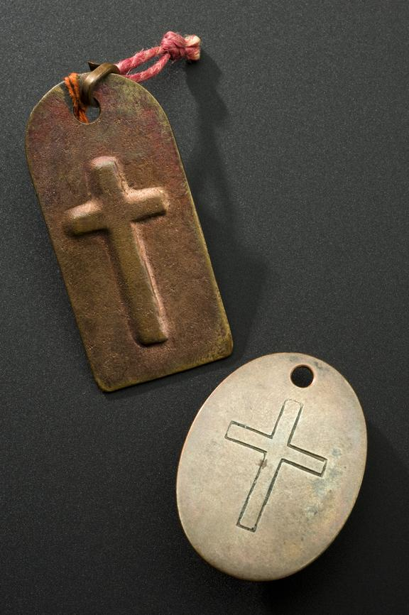 Top - A666123, Copper plaque stamped with Latin cross, used as protection against cholera, Russian, 1900-1909. Bottom -