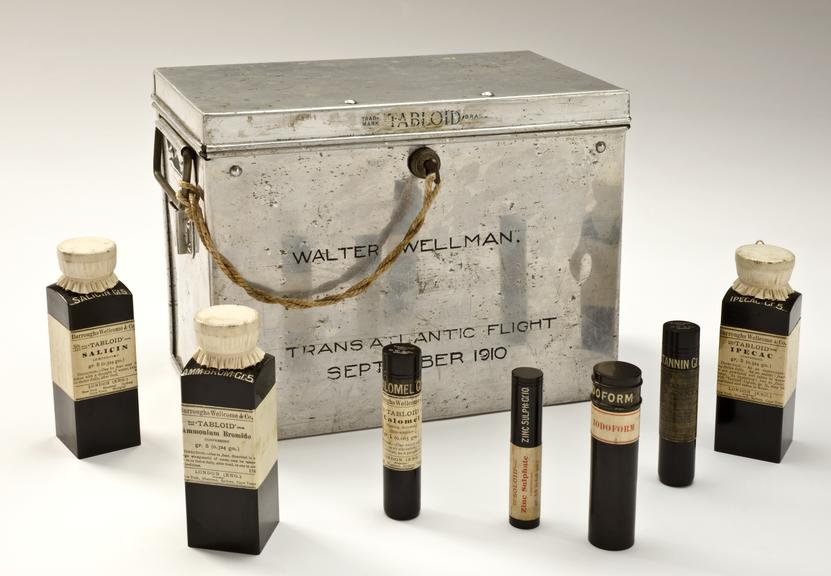 `Tabloid' medicine chest used by Walter Wellman for Transatlantic balloon flight, 1910, made by Burroughs Wellcome and
