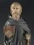 Statue of Saint Anthony the Hermit, Dutch, 16th century. Front view detail of upper figure. Black background.