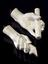 """Two plaster casts, woman's left hand holding scroll, 9 3/4"""" long (foreground) and man's left hand holding scroll 9 1/2"""""""