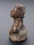 """Plaster bust, Niobe? Prepared for copying by addition of base and hole in head and base, 6"""" high. Profile view, grey"""