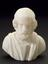 """Reproduction in alabaster, bust of Homer, 7"""" high. Front view. Black background"""
