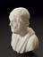 """Reproduction in alabaster, bust of Homer, 7"""" high. Semi-profile view. Black background"""