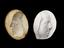 """Group shot of from left to right 1926-1075/35, Plaster mould, Boulton death mask, oval 3 3/4"""" x 3"""" and 1926-1075/40, 1"""