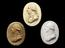 """Group shot clockwise from top, 1926-1075/57,  Plaster cast, oval 3 3/4"""" x 2 7/8"""" 1926-1075/63, Plaster cast of Dr"""