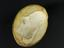 """Plaster mould, Boulton death mask, oval 3 3/4"""" x 3"""". Top three quarter view on black background"""