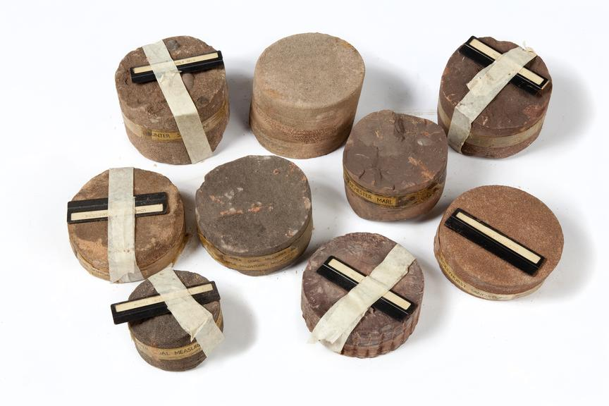 Core samples from Agecroft Colliery..Photographed on a white background.