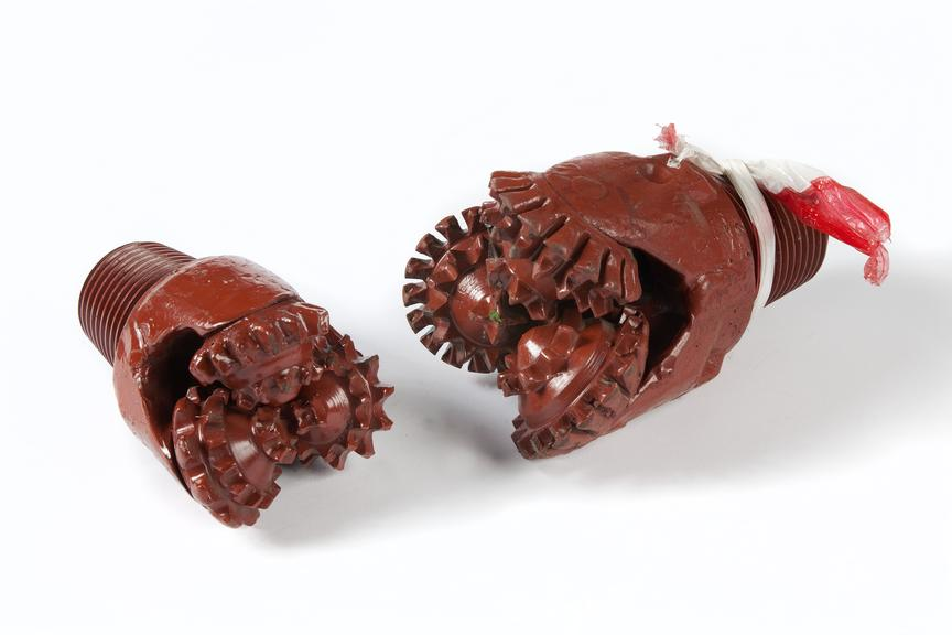 2 Drill bits, coal mining use..Photographed on a white background.