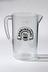 Pitcher, clear plastic; bears black Boddingtons logo; 4 pint capacity.Photographed straight on view on a white