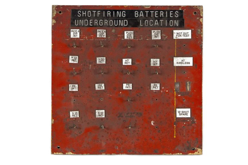 Shotfiring batteries locations board.Photographed straight on view on a white background.