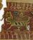 One of two 11th century coptic textile fragments. White linen with red, green and black motifs ( dragons) in glass