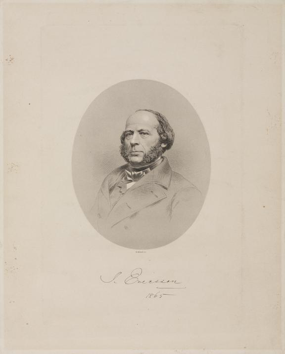 Print of J Ericsson (1803-1889) Swedish-American inventor and mechanical engineer, designed the steam locomotive