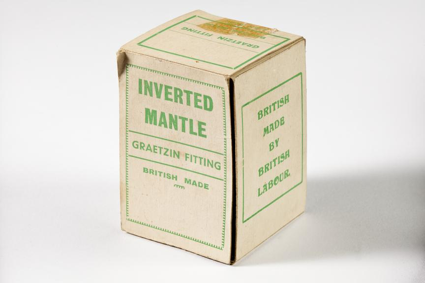 'Graetzin ' gas mantle box, gas mantle removed.Photographed 3/4 view on a white background.