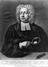 Engraving: Portrait of John Theophilus Desaguliers (1683-1744), natural philosopher. Black and white copy photograph,