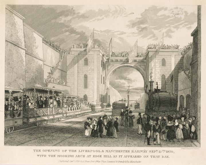 The opening of the Liverpool and Manchester Railway. Sept 15, 1830.