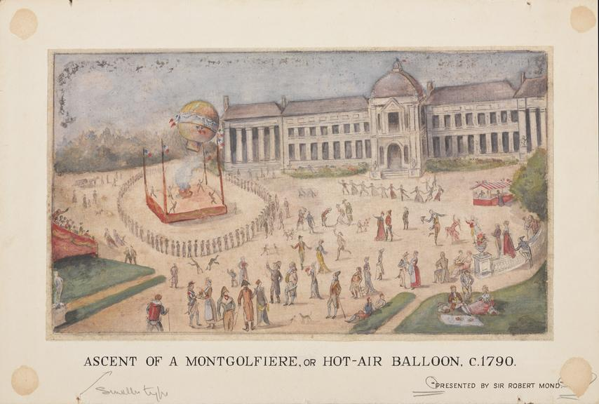 The ascent of a Montgolfier or hot-air balloon, c.1790. One early water colour painting.