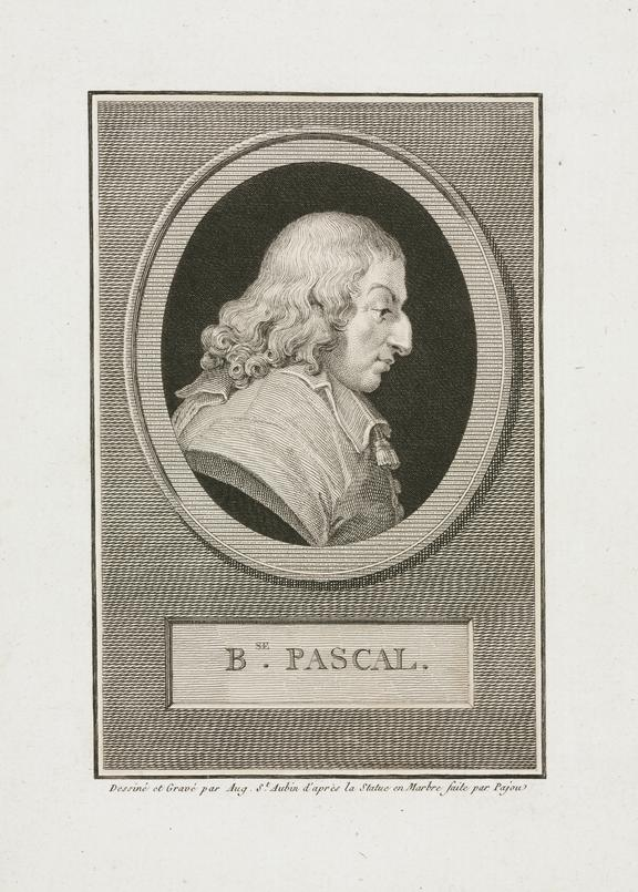 Engraving, Portrait of Blaise Pascal on paper