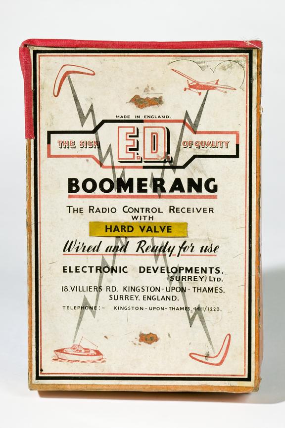 Box lid for ED Bommerang radio control receiver, for controlling flying model aeroplanesPhotographed on a white