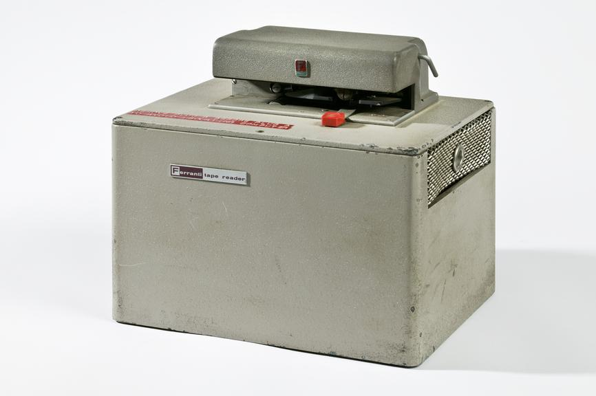 Ferranti model TR5B computer tape reader, c1965.Photographed 3/4 view on a white background.