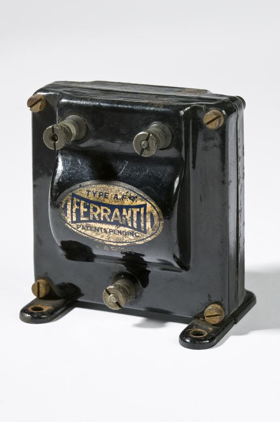 Ferranti Ltd model AF4 transformer.Photographed 3/4 view on a white background.
