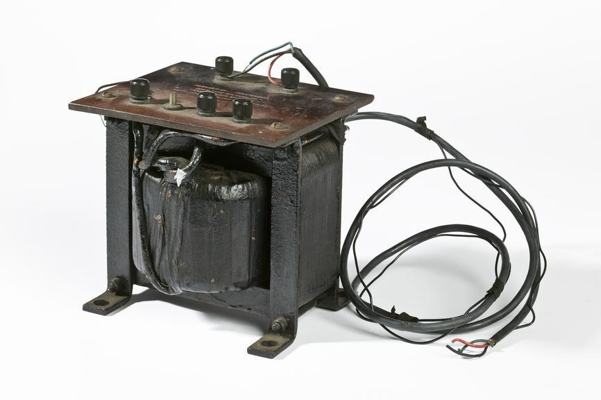 Ferranti Ltd transformer.Photographed on a white background.