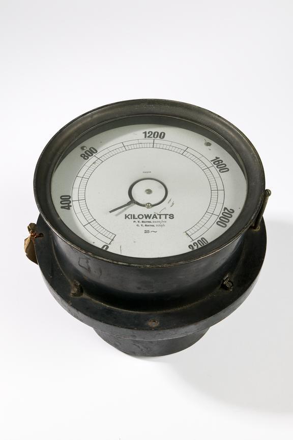 Ferranti Ltd induction wattmeter.Photographed on a white background.