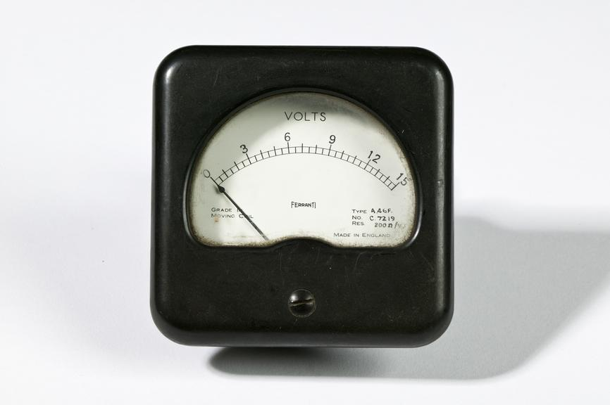 Voltmeter, type A46F, made by Ferranti Ltd.Photographed on a white background.