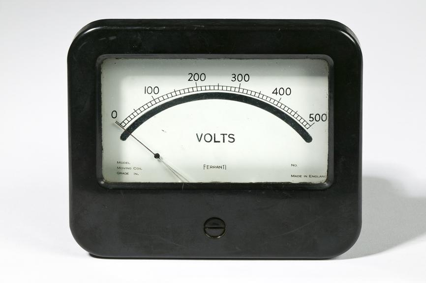 Ferranti Ltd voltmeter.Photographed on a white background.