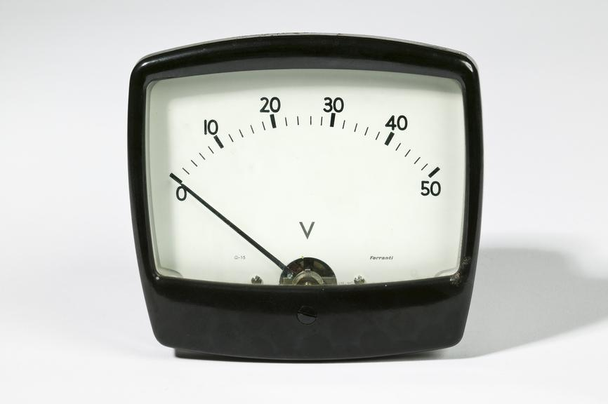 Ferranti Ltd model RMCAB35 voltmeterPhotographed on a white background.