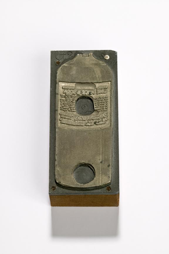 """Label printing block from Duckworth's Flavours. The Electro printing block is for the 3"""" size label for Lime Juice and"""