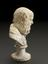"""Bust on pedestal, of Socrates, 7 1/2"""" high. Profile view, graduated grey to black background"""