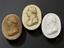 Plaster casts of Joseph Black. From left to right: 1926-1075/59; 1926-1075/57; 1926-1075/55. Top view, dark grey