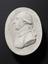 "Plaster cast of Joseph Black, 1788, oval 3 3/4"" x 2 7/8"". Top (plan) view. Dark grey background"